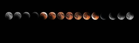 Lunar Eclipse Phases, Blood moon, Composite Lunar Eclipse Stok Fotoğraf - 131389829