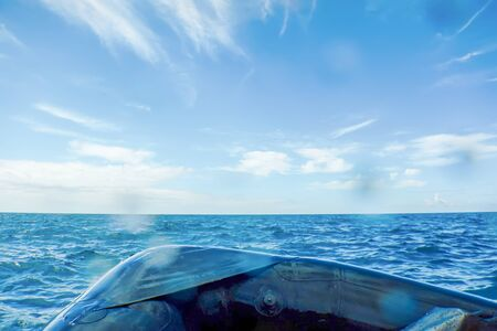 Inflatable Boat Breaking Sea Waves, Freedom and Movement
