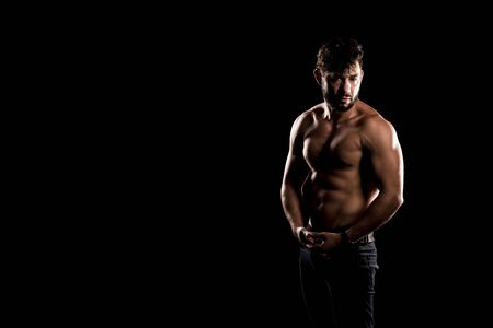 Bodybuilder Posing, Sporty Guy Male Power, Fitness Muscled Man, Spot Concept Copy Space, Dark Background