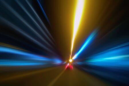 Ślady świetlne w ciemności, Ślady sygnalizacji świetlnej, Abstrakcyjne linie ruchu w tle
