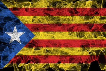 Catalonia Smoke Flag on Black Background, Catalonia flag
