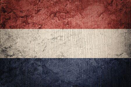 Grunge Nederland flag. Nederlands flag with grunge texture.