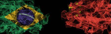 Flags of Brazil and China on Black background, Brazil vs China Smoke Flags