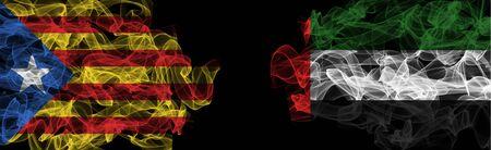 Flags of Catalonia and UAE on Black background, Catalonia vs United Arab Emirates Smoke Flags Stock Photo