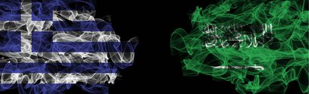 Flags of Greece and Saudi Arabia on Black background, Greece vs Saudi Arabia Smoke Flags Stock Photo