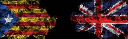 Flags of Catalonia and United Kingdom on Black background, Catalonia vs United Kingdom Smoke Flags Reklamní fotografie