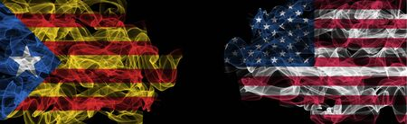 Flags of Catalonia and USA on Black background, Catalonia vs USA Smoke Flags