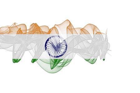 India Smoke Flag on White Background, India flag Фото со стока