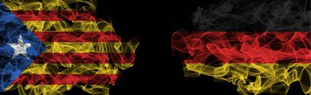Flags of Catalonia and Germany on Black background, Catalonia vs Germany Smoke Flags