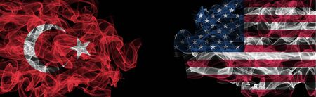 Flags of Turkey and USA on Black background, Turkey vs USA Smoke Flags