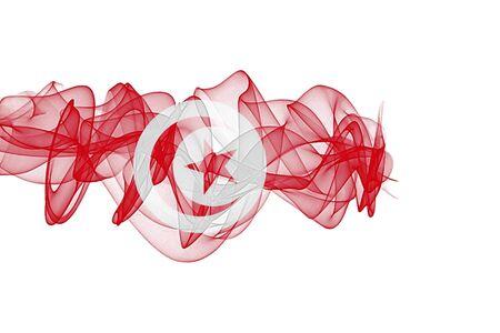 Tunisia Smoke Flag on White Background, Tunisia flag Фото со стока