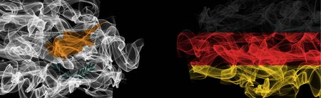 Flags of Cyprus and Germany on Black background, Cyprus vs Germany Smoke Flags