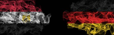 Flags of England and Germany on Black background, England vs Germany Smoke Flags