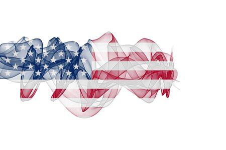 USA Smoke Flag on White Background, USA flag Фото со стока