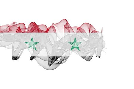 Syria Smoke Flag on White Background, Syria flag Фото со стока