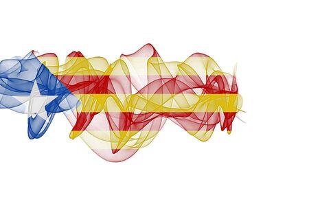 Catalonia Smoke Flag on White Background, Catalonia flag