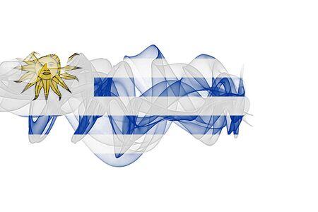Uruguay Smoke Flag on White Background, Uruguay flag