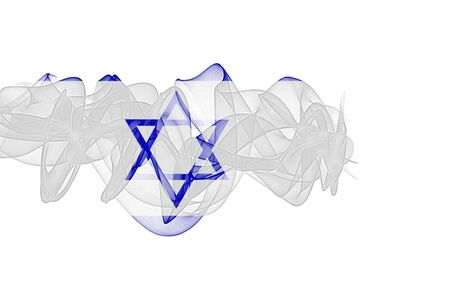 Israel Smoke Flag on White Background, Israel flag