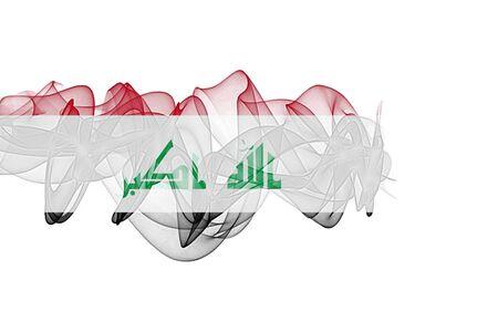 Iraq Smoke Flag on White Background, Iraq flag