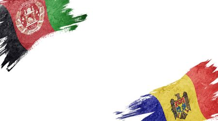Flags of Afghanistan and Moldova on white background Foto de archivo