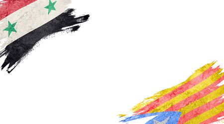 Flags of Syria and Catalonia on white background