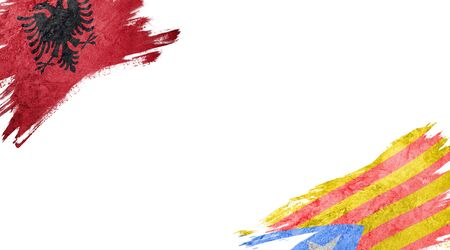Flags of Albania and Catalonia on white background