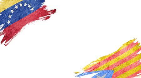 Flags of Venezuela and Catalonia on white background Reklamní fotografie