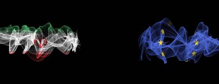Flags of Iran and EU on Black background, Iran vs Europe Union Smoke Flags Banque d'images