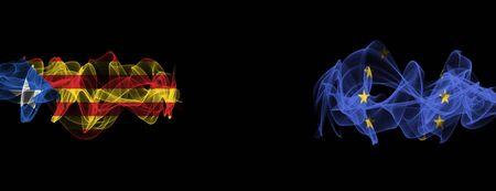 Flags of Catalonia and EU on Black background, Catalonia vs Europe Union Smoke Flags Reklamní fotografie