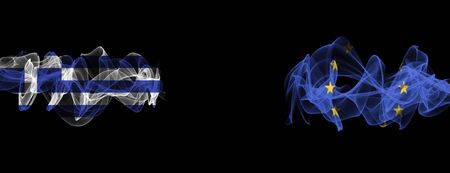 Flags of Greece and EU on Black background, Greece vs Europe Union Smoke Flags Banque d'images