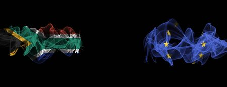 Flags of South Africa and EU on Black background, South Africa vs Europe Union Smoke Flags Stock Photo