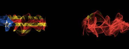 Flags of Catalonia and China on Black background, Catalonia vs China Smoke Flags Reklamní fotografie
