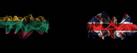 Flags of Lithuania and United Kingdom on Black background, Lithuania vs United Kingdom Smoke Flags Stock Photo