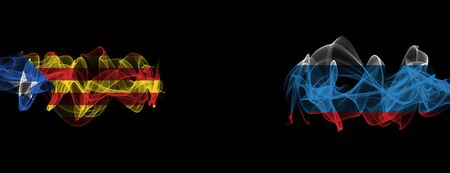 Flags of Catalonia and Russia on Black background, Catalonia vs Russia Smoke Flags