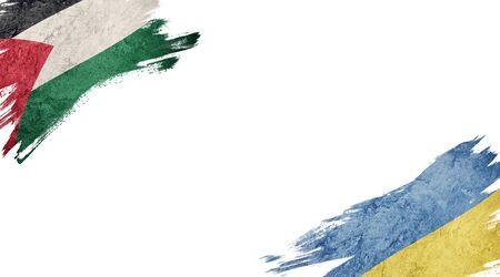 Flags of Palestine and Ukraine on white background Standard-Bild