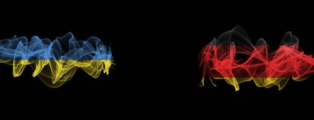 Flags of Ukraine and Germany on Black background, Ukraine vs Germany Smoke Flags Banque d'images