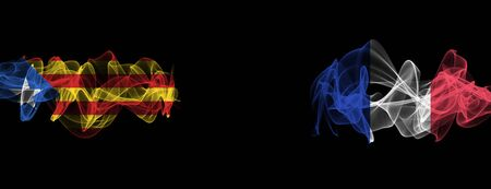 Flags of Catalonia and France on Black background, Catalonia vs France Smoke Flags