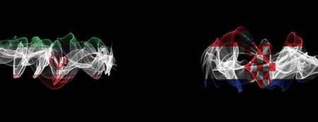 Flags of Iran and Croatia on Black background, Iran vs Croatia Smoke Flags