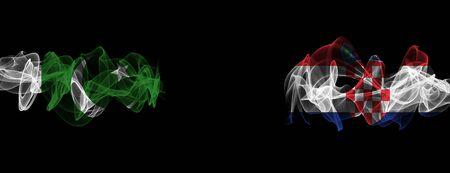 Flags of Pakistan and Croatia on Black background, Pakistan vs Croatia Smoke Flags