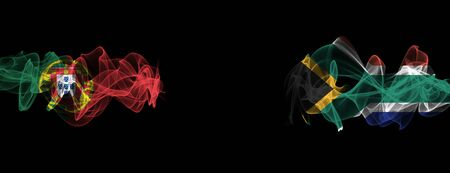 Flags of Portugal and South Africa on Black background, Portugal vs South Africa Smoke Flags Stock Photo