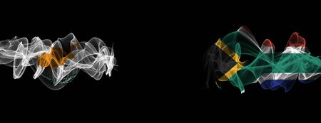 Flags of Cyprus and South Africa on Black background, Cyprus vs South Africa Smoke Flags Stock Photo