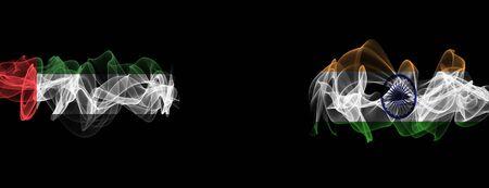 Flags of UAE and India on Black background, UAE vs India Smoke Flags