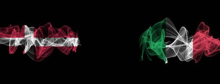 Flags of Denmark and Italy on Black background, Denmark vs Italy Smoke Flags