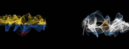 Flags of Colombia and Argentina on Black background, Colombia vs Argentina Smoke Flags Stock Photo