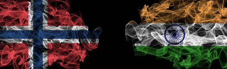 Flags of Norway and India on Black background, Norway vs India Smoke Flags