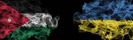 Flags of Jordan and Ukraine on Black background, Jordan vs Ukraine Smoke Flags Stock Photo