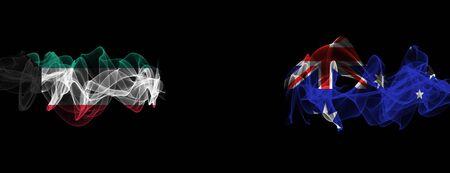 Flags of Kuwait and Australia on Black background, Kuwait vs Australia Smoke Flags