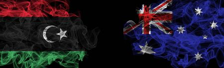 Flags of Libya and Australia on Black background, Libya vs Australia Smoke Flags