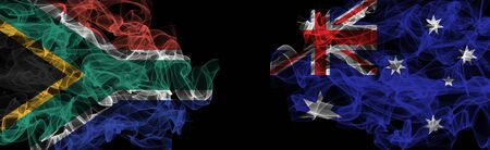 Flags of South Africa and Australia on Black background, South Africa vs Australia Smoke Flags