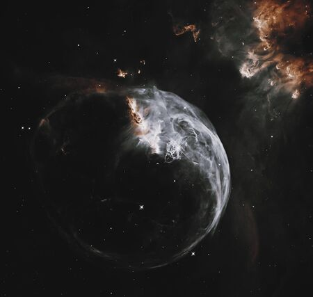 Bubble Nebula in Cassiopeia constellation.       . Stock Photo